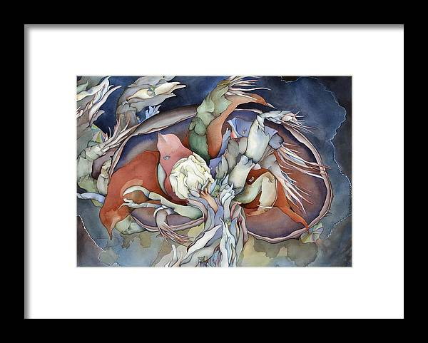 Sealife Framed Print featuring the painting Searching Deep Within by Liduine Bekman