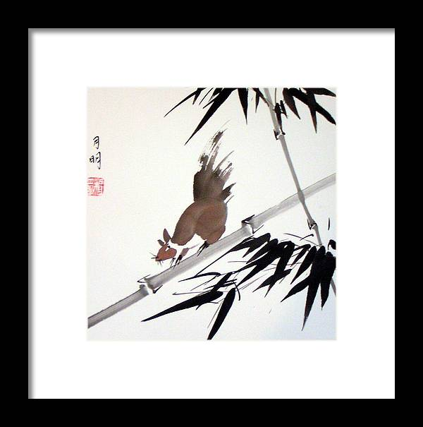 Chinese Painting Framed Print featuring the painting Searching For Food by Ming Yeung
