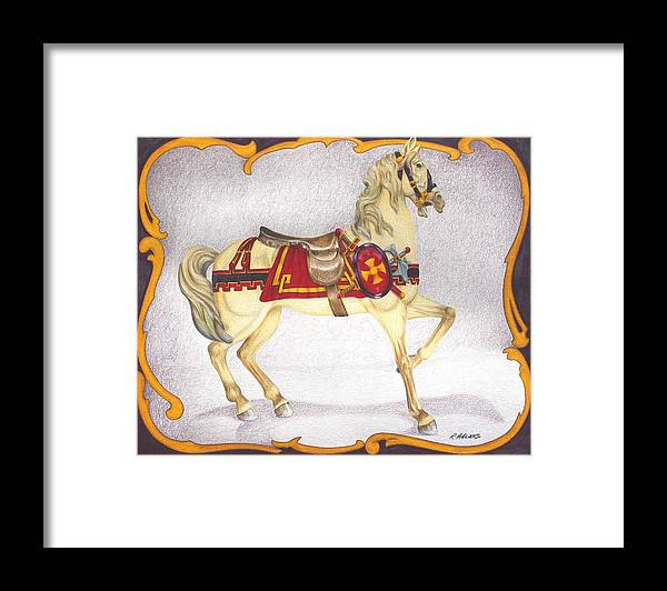 Horse Framed Print featuring the drawing Searching For The Brass Ring No. Seven by Rick Ahlvers