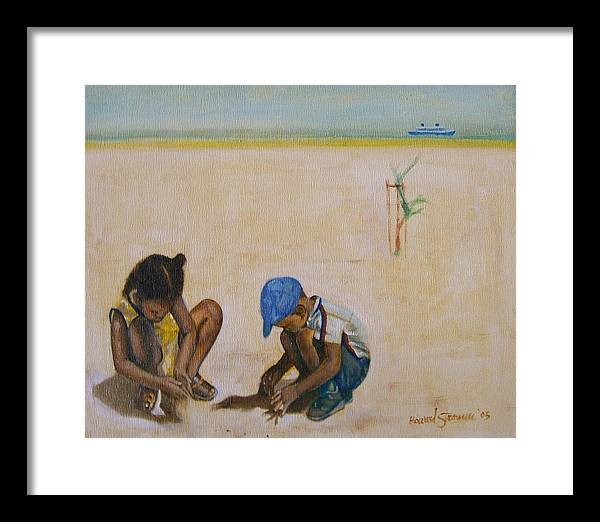 Children At The Beach Framed Print featuring the painting Searching For Treasure by Howard Stroman