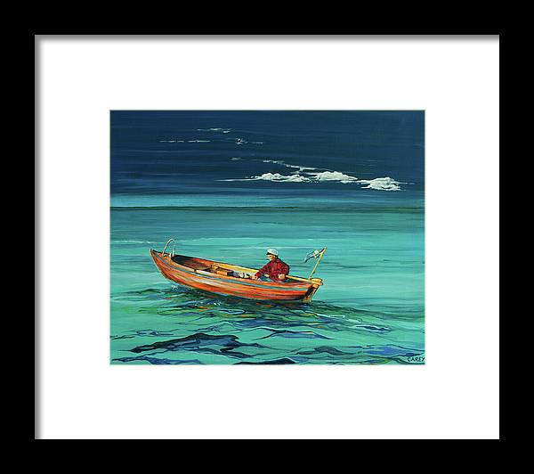 Framed Print featuring the painting Seas The Day by Sheila Carey