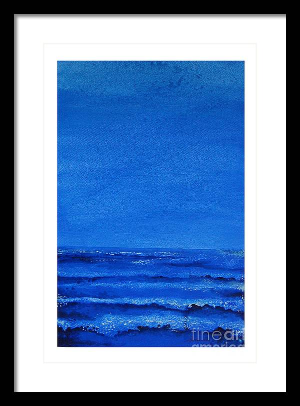 Abstract Framed Print featuring the painting Seascape-0 by Padmakar Kappagantula