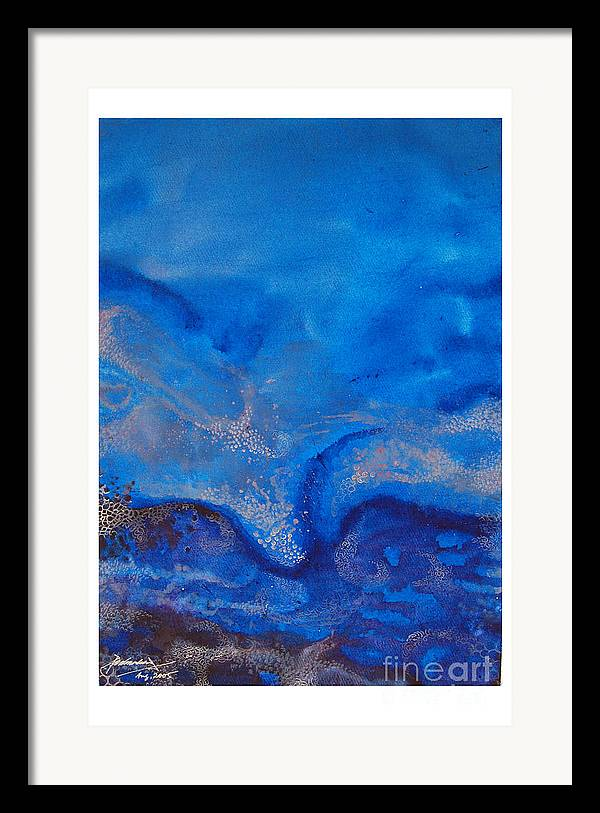 Abstract Framed Print featuring the painting Seascape-1 by Padmakar Kappagantula