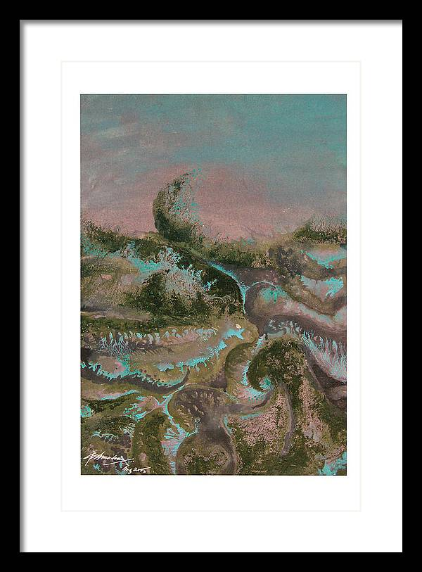 Abstract Framed Print featuring the painting Seascape-2 by Padmakar Kappagantula