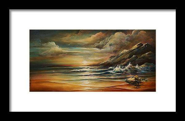 Seascape Framed Print featuring the painting Seascape 3 by Michael Lang