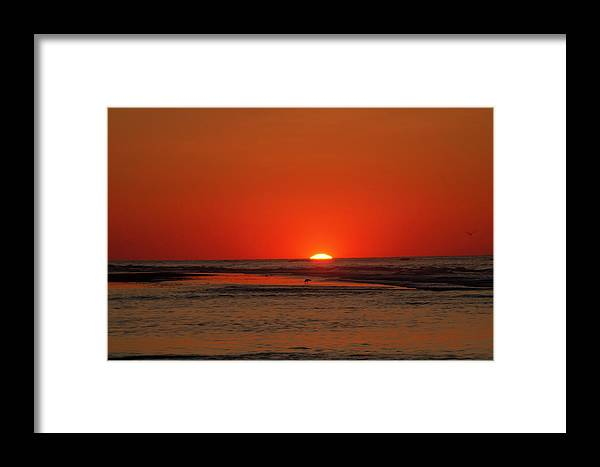 Seascape Framed Print featuring the photograph Seascape - Sun Rising - Wildwood New Jersey by Bill Cannon