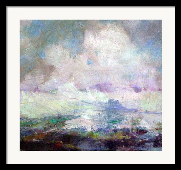 Abstract Framed Print featuring the painting Seascape-untitled by Marilyn Muller