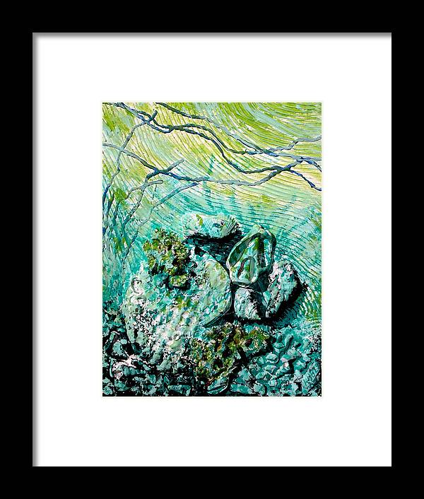 Seashell Framed Print featuring the sculpture Seashell Collage by Susan Kubes