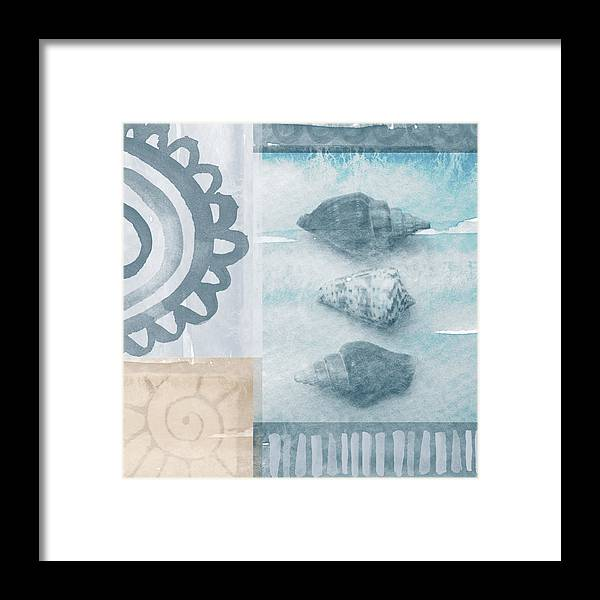 Beach Framed Print featuring the painting Seashells by Linda Woods
