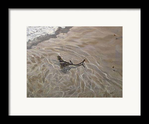 Seascape Framed Print featuring the painting Seashore Reflections by Lea Novak