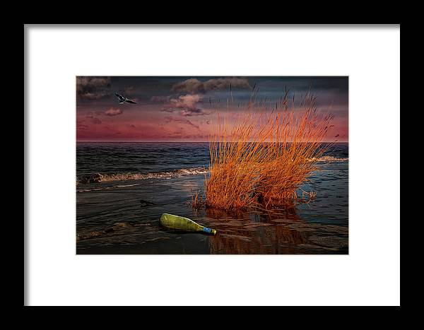 Sky Framed Print featuring the photograph Seaside Bottle At Sunset by Reinhold Silbermann
