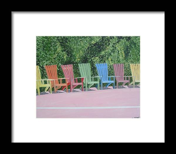 Seascape Framed Print featuring the painting Seaside Chairs by John Terry