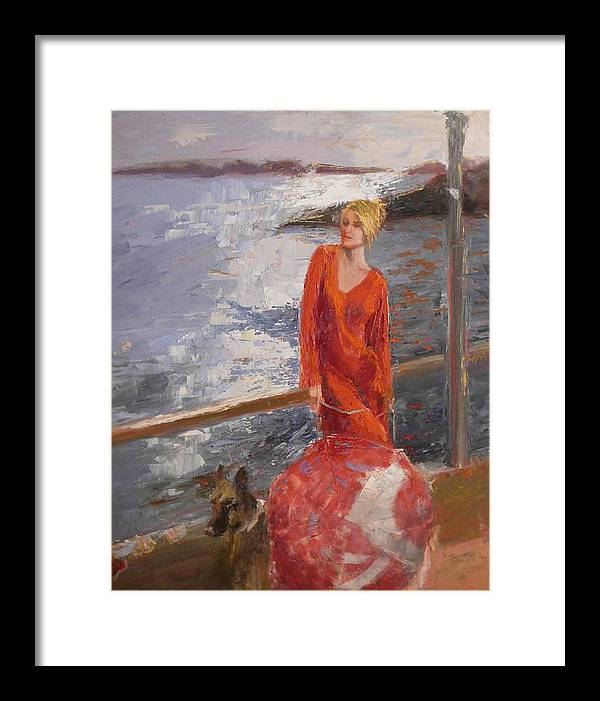 Sea Scape Framed Print featuring the painting sold Seaside Interest by Irena Jablonski