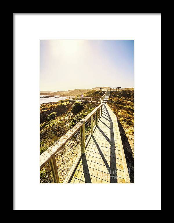 Promenade Framed Print featuring the photograph Seaside Perspective by Jorgo Photography - Wall Art Gallery