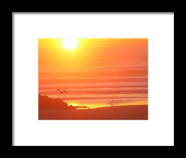 Framed Print featuring the digital art Seaside Sunset by Barb Morton