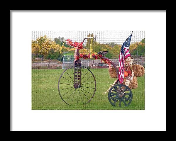 Seasonal Framed Print featuring the photograph Seasonal Antique Tricycle 1 by Steve Ohlsen