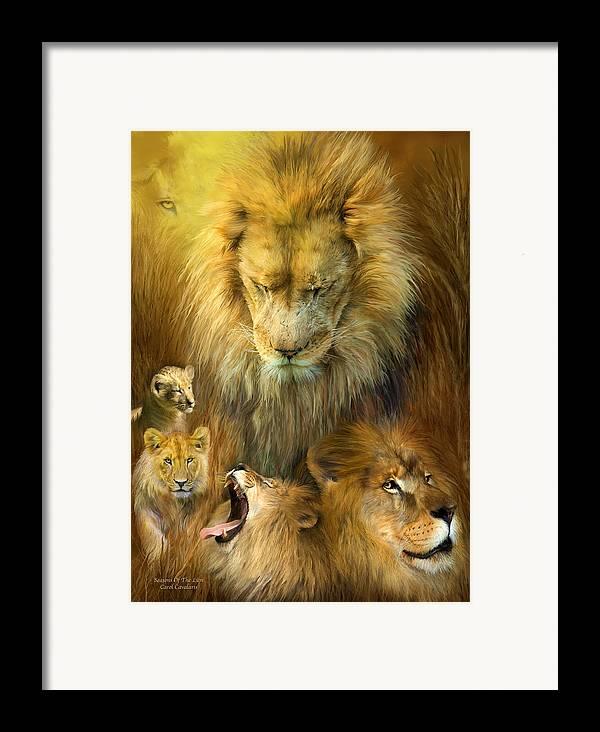 Carol Cavaoaris Framed Print featuring the mixed media Seasons Of The Lion by Carol Cavalaris
