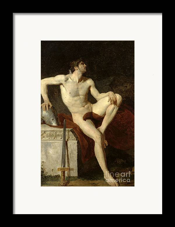 Seated Framed Print featuring the painting Seated Gladiator by Jean Germain Drouais