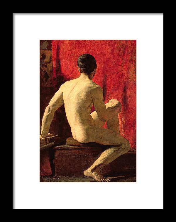 Seated Male Model (oil On Millboard)nude; Posed; Rear View; Posterior; Back; Muscular; Young; Youth; Life Study; Posing; Victorian; Man Framed Print featuring the painting Seated Male Model by William Etty