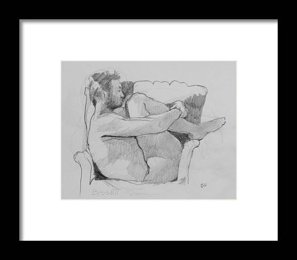 Life Framed Print featuring the drawing Seated Nude 1 by Robert Bissett