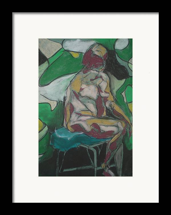 Seated Nude Framed Print featuring the painting Seated Nude by Aleksandra Buha
