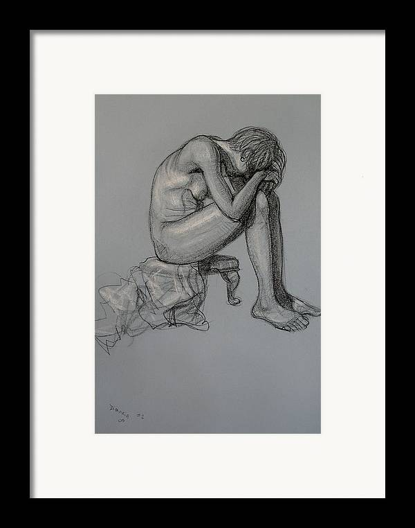 Realism Framed Print featuring the drawing Seated Nude by Donelli DiMaria