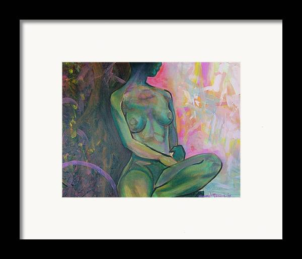 Nude Framed Print featuring the painting Seated Nude by Howard Stroman