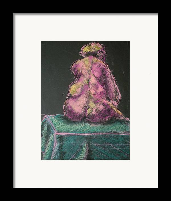 Seated Nude Framed Print featuring the painting Seated Pink Nude by Aleksandra Buha