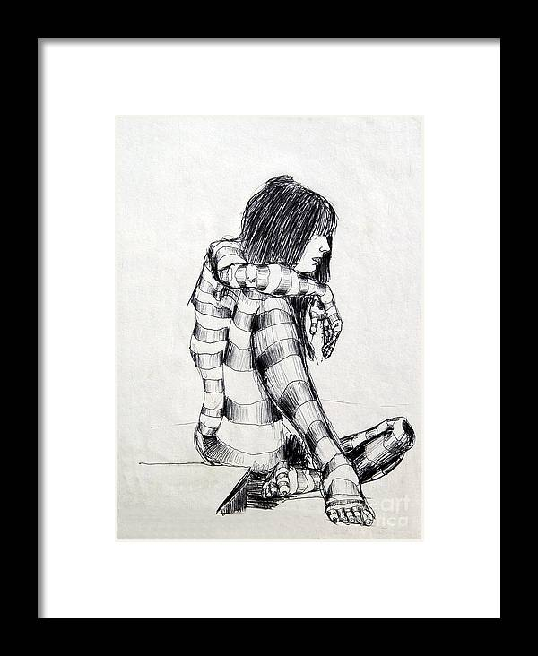Ink Drawing Framed Print featuring the drawing Seated Striped Nude by Ron Bissett