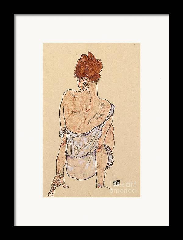 Seated Woman In Underwear Framed Print featuring the drawing Seated Woman In Underwear by Egon Schiele