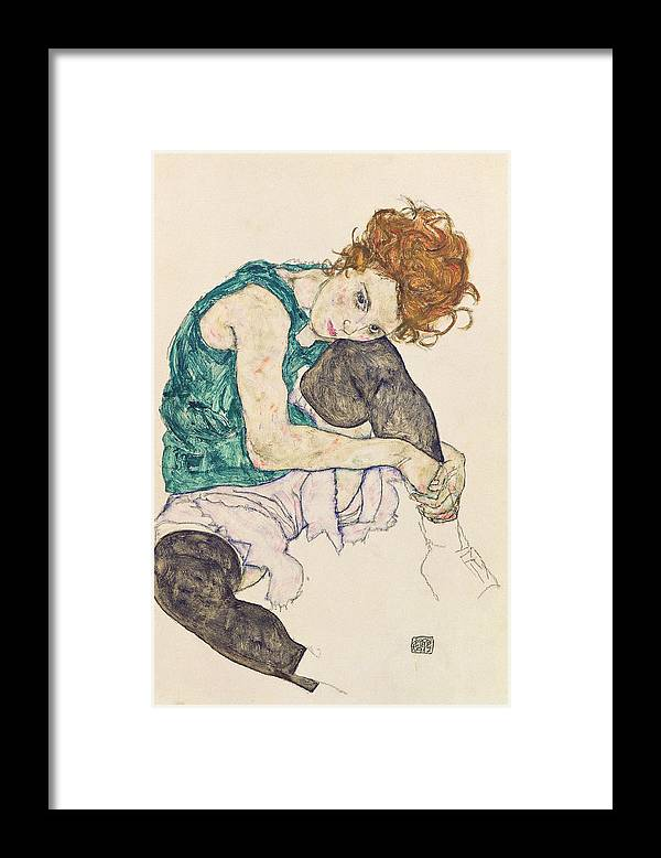 Egon Schiele Framed Print featuring the painting Seated Woman with Bent Knee by Egon Schiele