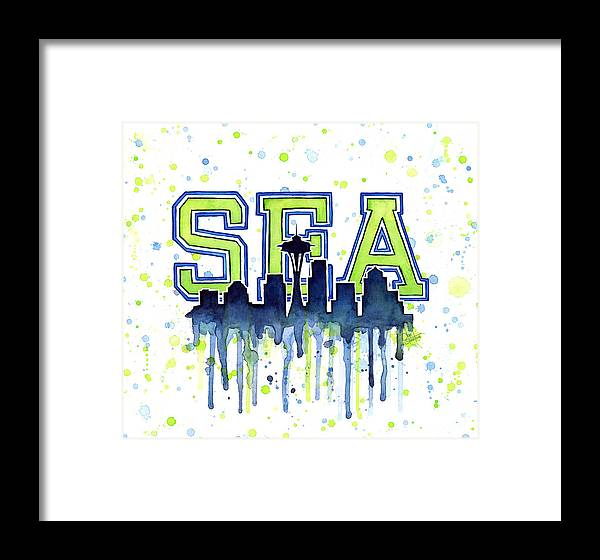 Seattle Watercolor 12th Man Art Painting Space Needle Go Seahawks ...