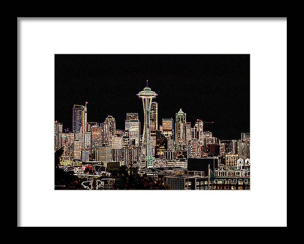 Colorful Framed Print featuring the photograph Seattle a Glow by Larry Keahey
