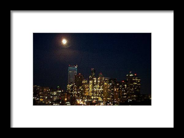 City Framed Print featuring the mixed media Seattle At Night by James Johnstone