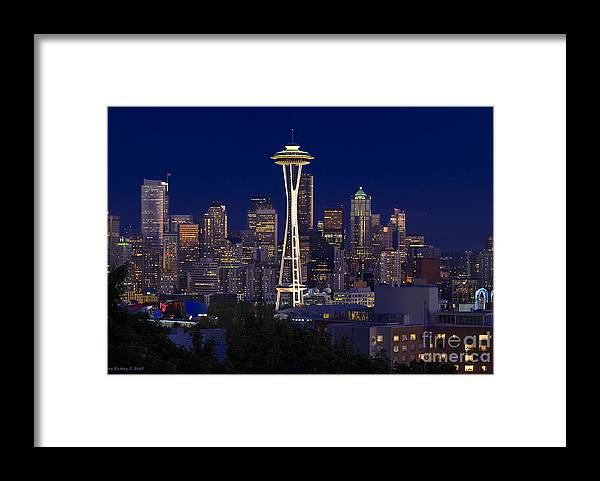 Seattle Framed Print featuring the photograph Seattle at Night by Larry Keahey