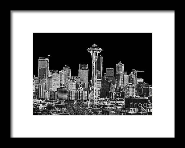 Black And White Framed Print featuring the photograph Seattle Black and White by Larry Keahey