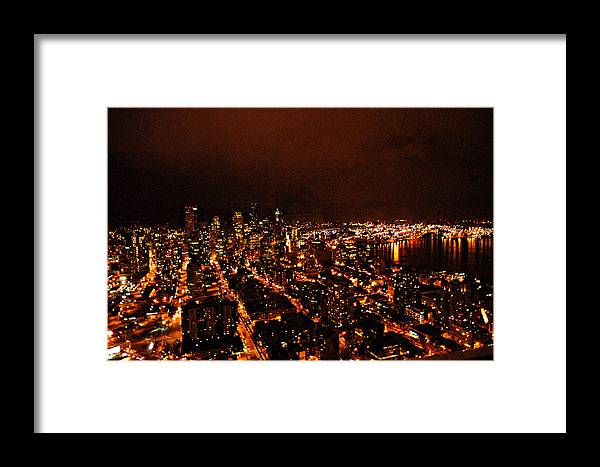 Seattle At Night Framed Print featuring the photograph Seattle by Davida Parker