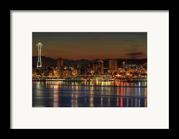Horizontal Framed Print featuring the photograph Seattle Downtown Skyline From Alki Beach Dawn by David Gn Photography