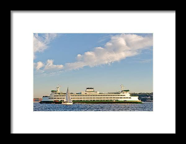 Seattle Framed Print featuring the photograph Seattle Ferry Boat by Tom Dowd