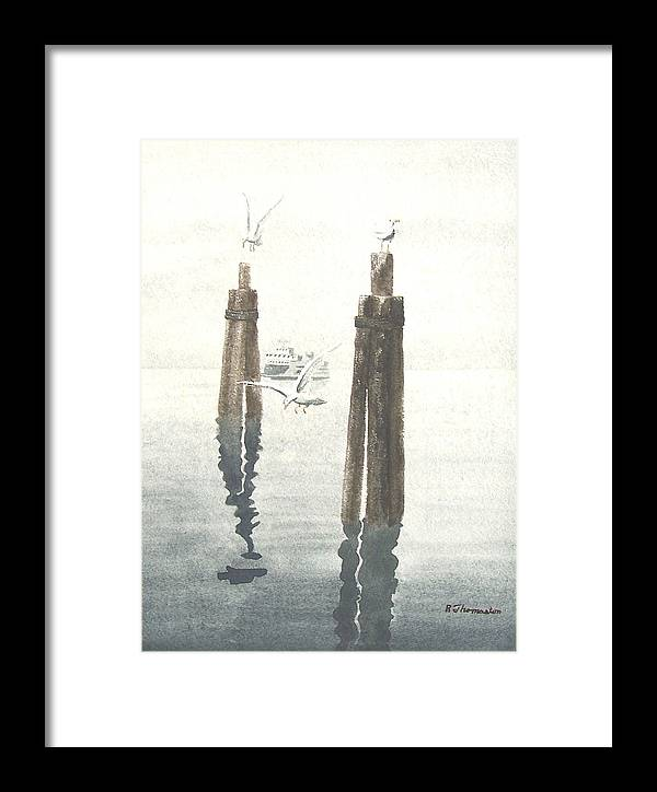 Water Framed Print featuring the painting Seattle Ferry by Robert Thomaston