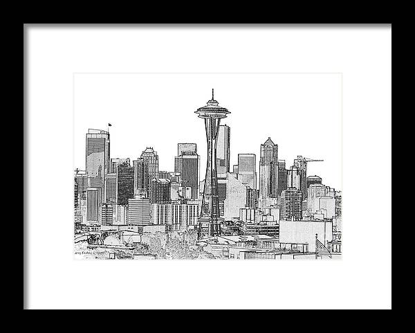 Black And White Framed Print featuring the photograph Seattle Inverted Black and White by Larry Keahey
