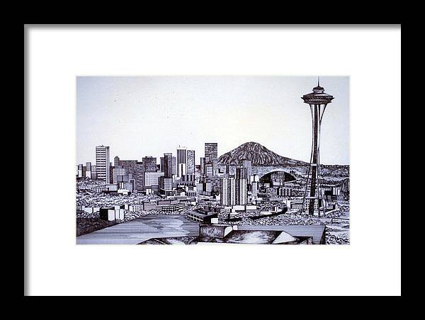 Seattle Framed Print featuring the drawing Seattle Skline by Tammera Malicki-Wong