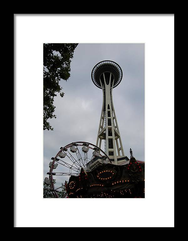 Seattle Framed Print featuring the photograph Seattle Space Needles by Steven Crown