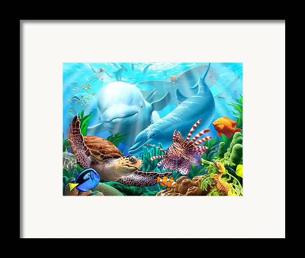 Beluga Whale Framed Print featuring the digital art Seavilians by Jerry LoFaro