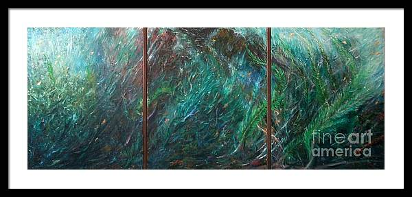 Nature Framed Print featuring the painting Seaweeds Tryptych by Thomas Fleming