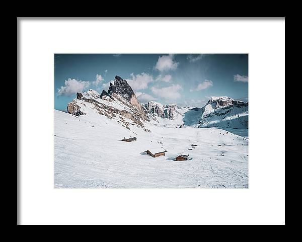Sea Framed Print featuring the pyrography Seceda Dolomity, Italy by Pavel Kasak