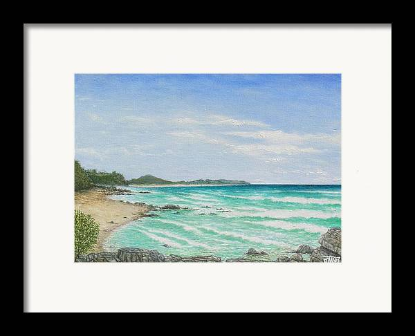 Seascape Framed Print featuring the painting Second Bay Coolum Beach by Joe Michelli