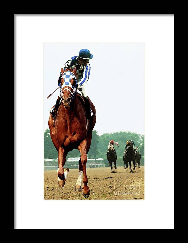 1 1/2 Mile Framed Print featuring the painting Secretariat Winning The Belmont Stakes, Jockey Ron Turcotte Looking Back, 1973 by Thomas Pollart