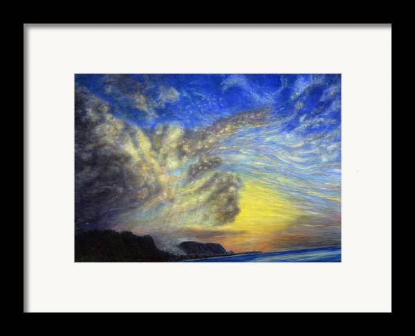 Coastal Decor Framed Print featuring the painting Secret Beach Sunset by Kenneth Grzesik