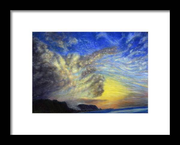 Coastal Decor Framed Print featuring the painting Secret Beach Sunset by Kenneth Grzesik